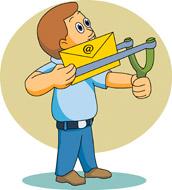 Cartoon Sending an email via slingshot